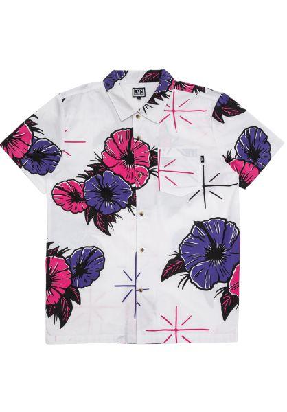 Loser-Machine Hemden kurzarm Tropicana white-purple vorderansicht 0400860