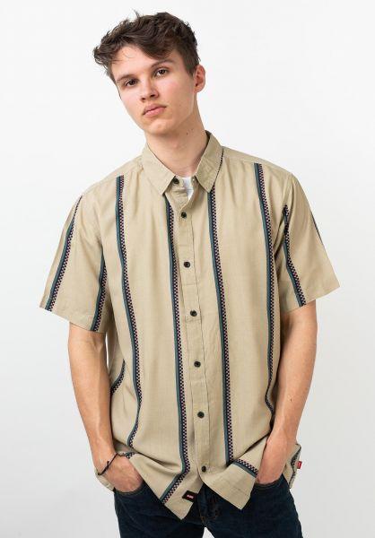 Globe Hemden kurzarm Hustle Stripe flint vorderansicht 0400931