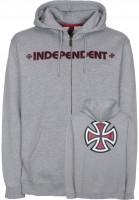 Independent Zip-Hoodies Bar Cross heathergrey Vorderansicht