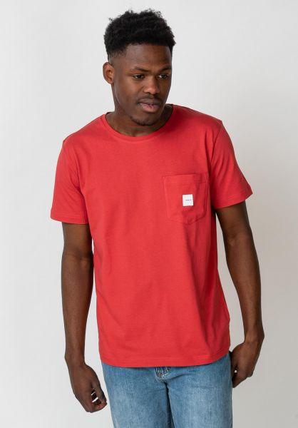 Makia T-Shirts Square Pocket red vorderansicht 0397016
