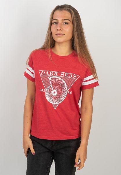 Dark Seas T-Shirts Blue Sunday Football Tee  Women heatherred vorderansicht 0383325