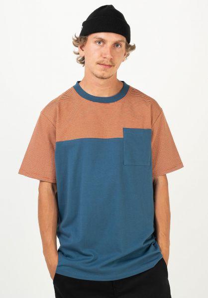 TITUS T-Shirts Jakow stellar-red-ochre-striped vorderansicht 0320931