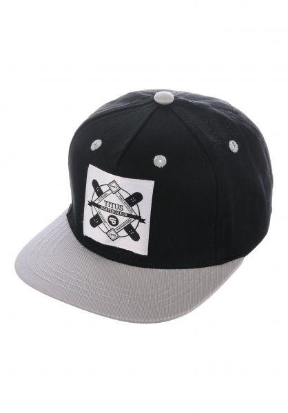 TITUS Caps Emblem Kids Snapback black-grey vorderansicht 0565780