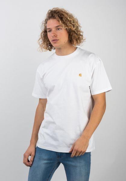 Carhartt WIP T-Shirts Chase white-gold vorderansicht 0396618