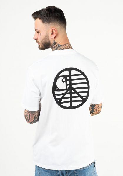 Carhartt WIP T-Shirts Peace State white-black vorderansicht 0323427