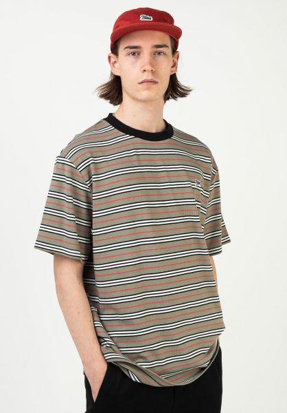 TITUS T-Shirts Koa green-striped vorderansicht 0321923