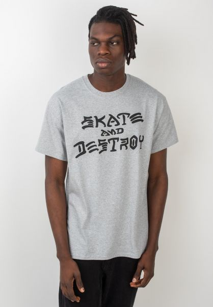Thrasher T-Shirts Skate and Destroy greymottled vorderansicht 0037259