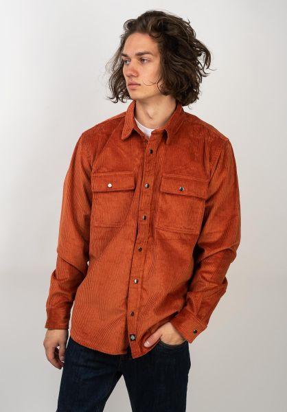 Dickies Hemden langarm Ivel Corduroy rust vorderansicht 0411923
