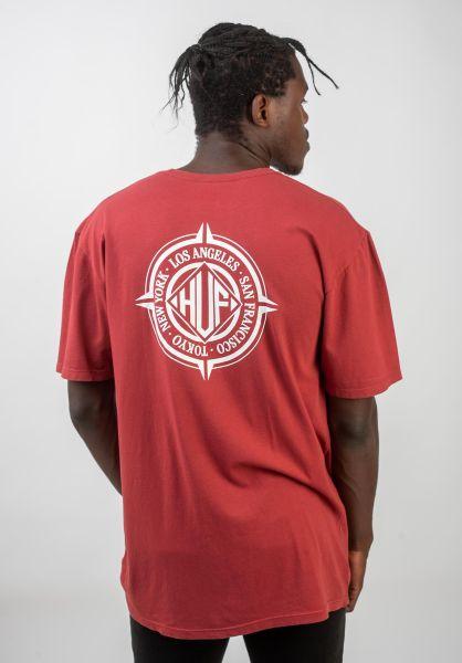 HUF T-Shirts Coordinates rosewoodred vorderansicht 0320736