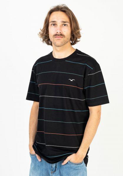 Cleptomanicx T-Shirts Multi Stripe black vorderansicht 0397442