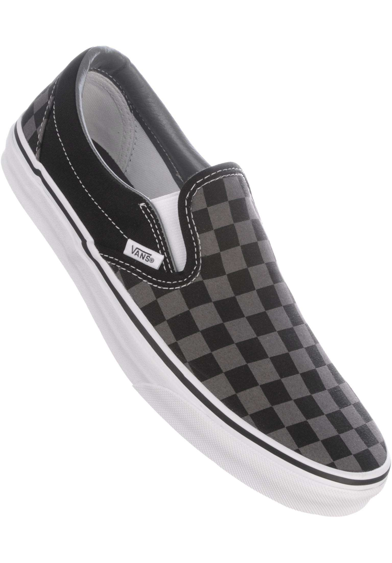 7db8f12737e5f8 Classic-Slip-On Vans All Shoes in black-pewter-checkerboard for Men ...