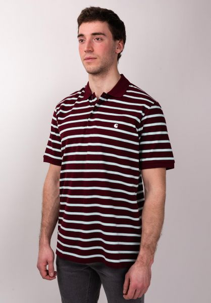 Carhartt WIP Polo-Shirts Houston Polo houstonstripe-cranberry vorderansicht 0138380