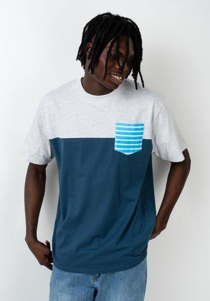 TITUS T-Shirts Striped Colourblock lightheathergrey-stellar vorderansicht 0320805