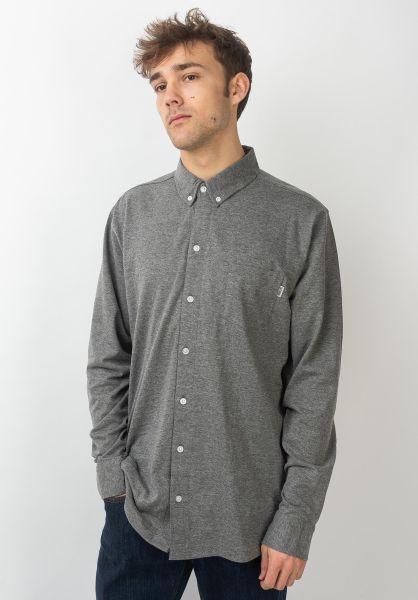 Wemoto Hemden langarm Shaw darkgrey-melange vorderansicht 0411880