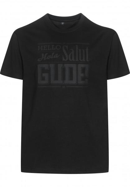 GUDE T-Shirts Hello Hola Salut GUDE black-black Vorderansicht