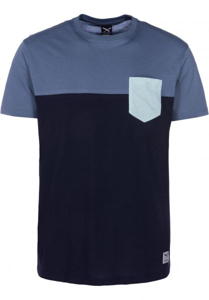 iriedaily T-Shirts Block Pocket Thunderblue vorderansicht 0394022