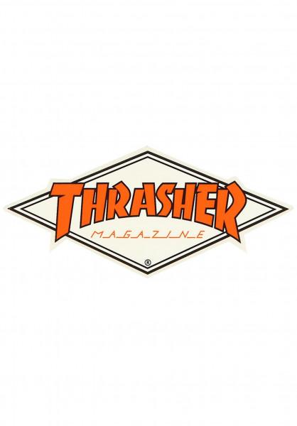 Thrasher Verschiedenes Diamond Logo Sticker white-orange Vorderansicht