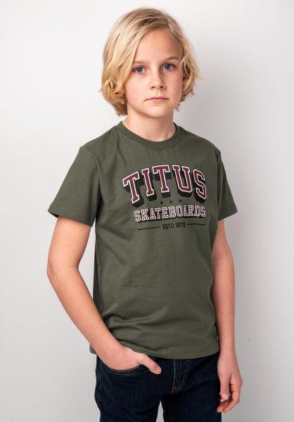 TITUS T-Shirts College Script Kids olive vorderansicht 0398396