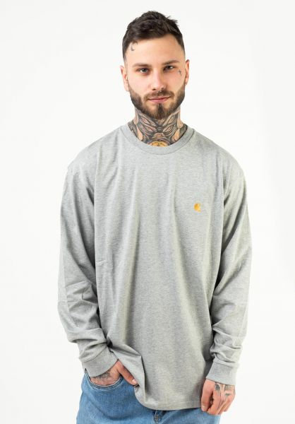 Carhartt WIP Longsleeves Chase Longsleeve greyheather-gold vorderansicht 0382873