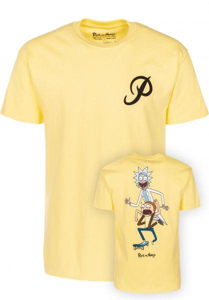 Primitive x Rick /& Morty Classic P RnM Skate Short Sleeve T Shirt Banana Yellow
