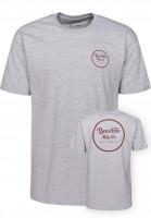 Brixton T-Shirts Wheeler II heathergrey-burgundy Vorderansicht