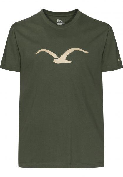 Cleptomanicx T-Shirts Möwe olive-night Vorderansicht