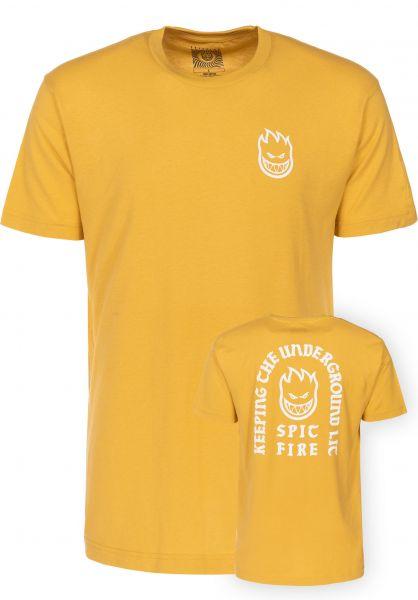 Spitfire T-Shirts Steady Rockin Bighead mustard-white Vorderansicht