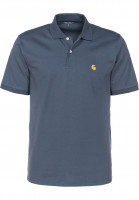 Carhartt WIP Polo-Shirts Chase Polo stoneblue-gold Vorderansicht