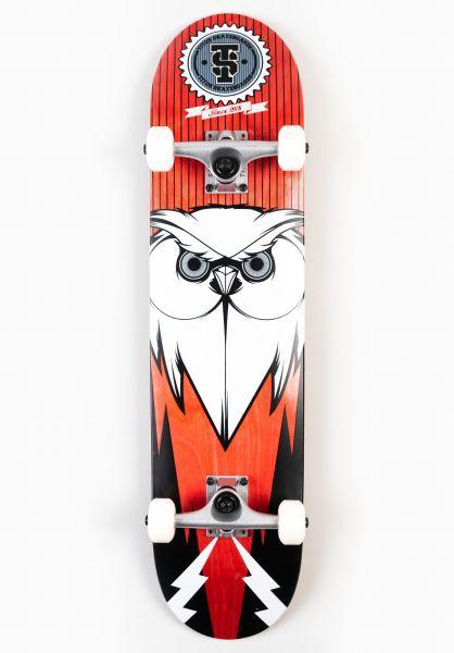 TITUS Skateboard komplett Blackbird Owl black-red-white vorderansicht 0160801