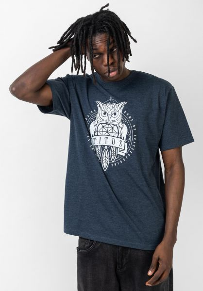 TITUS T-Shirts Deon deepnavymottled-white vorderansicht 0399249