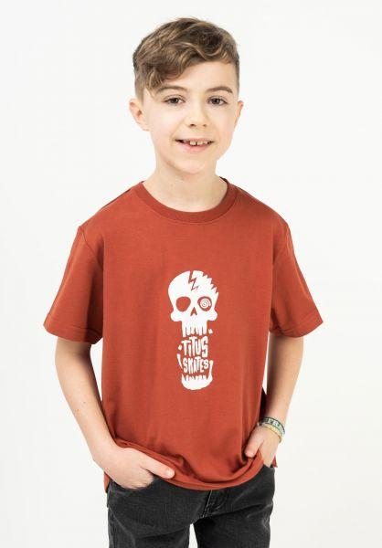 TITUS T-Shirts Tamaro Kids burnt-ochre-white vorderansicht 0321017