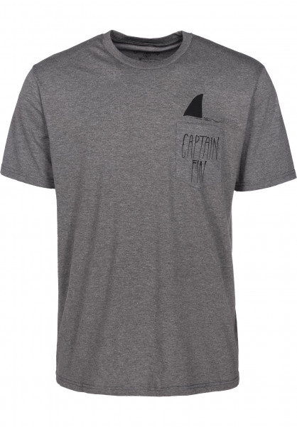 Captain Fin T-Shirts Shark Fin Premium Pocket heathergrey Vorderansicht