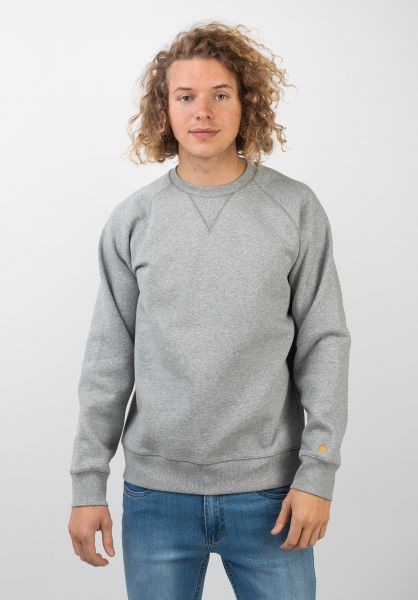 Carhartt WIP Sweatshirts und Pullover Chase darkgreyheather-gold vorderansicht 0420832