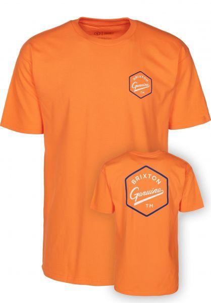 Brixton T-Shirts Yates orange Vorderansicht
