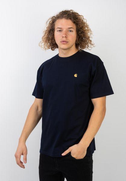 Carhartt WIP T-Shirts Chase darknavy-gold vorderansicht 0396618