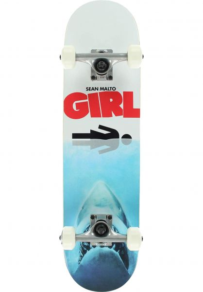 Girl Skateboard komplett Malto Shark Attack white-red vorderansicht 0162160