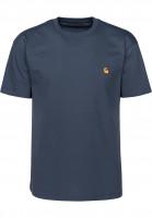 Carhartt WIP T-Shirts Chase stoneblue-gold Vorderansicht