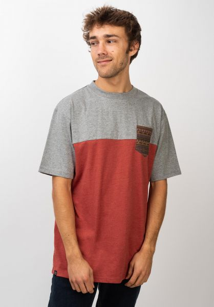 TITUS T-Shirts Ikat Pocket rostheather-greymottled vorderansicht 0398348