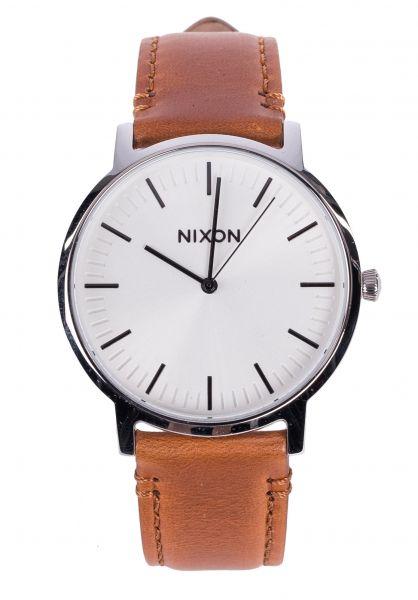 Nixon Uhren The Porter Leather white-sunray-saddle Vorderansicht