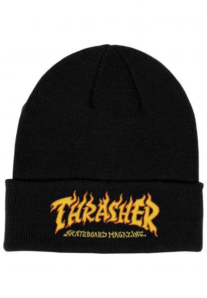 Thrasher Mützen Fire Logo Beanie black vorderansicht 0572627