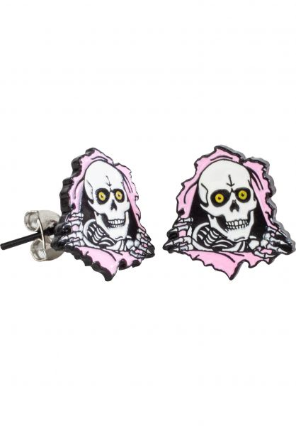 Powell-Peralta Verschiedenes Ripper Earrings silver-pink vorderansicht 0790122