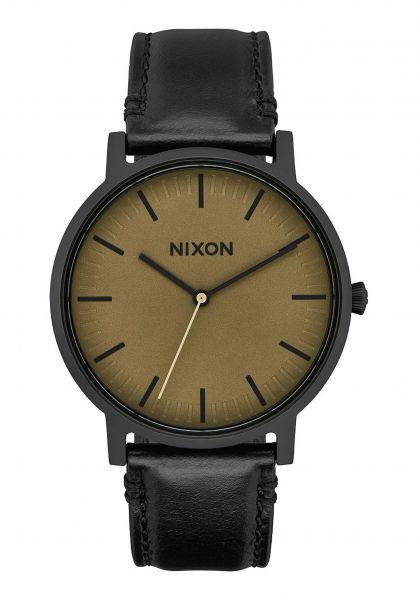 Nixon Uhren The Porter Leather black-mattesage-black Vorderansicht