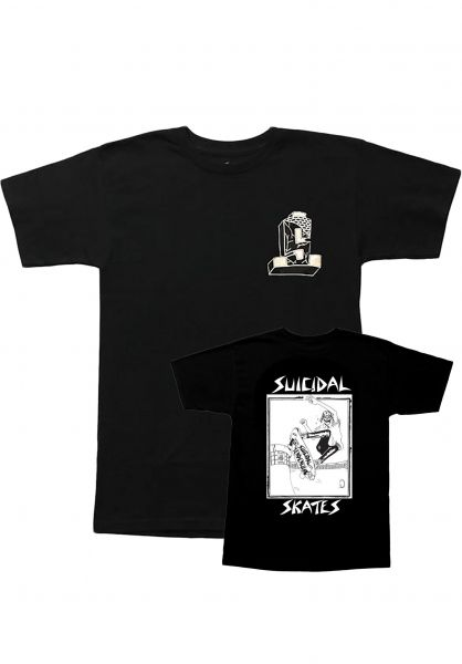 Dogtown T-Shirts Suicidal Pool Skater Lance Mountain Art black vorderansicht 0395546