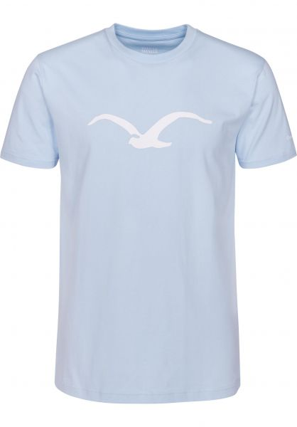 Cleptomanicx T-Shirts Möwe lightblue Vorderansicht