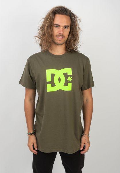 DC Shoes T-Shirts Star fatiguegreen-safetyyellow vorderansicht 0363642