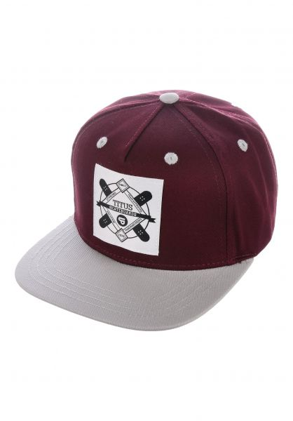 TITUS Caps Emblem Kids Snapback burgundy-grey vorderansicht 0565780
