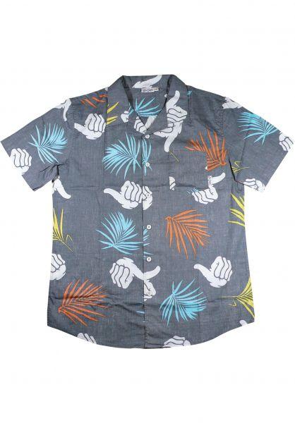 Bro Style Hemden kurzarm Tropic Print charcoal Vorderansicht