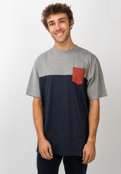 TITUS T-Shirts Colourblock Pocket deepnavymottled-greymottled-rostheather vorderansicht 0398349