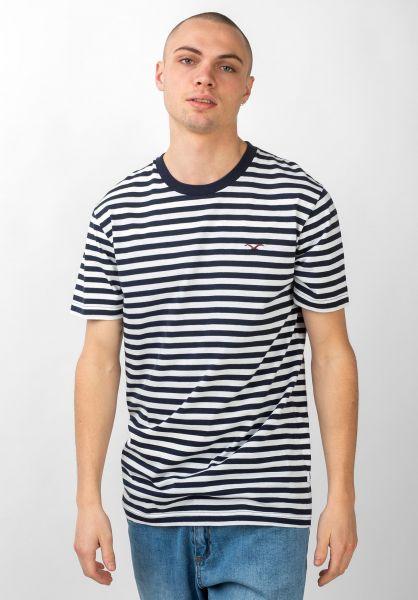 Cleptomanicx T-Shirts Stripe darknavy vorderansicht 0392887