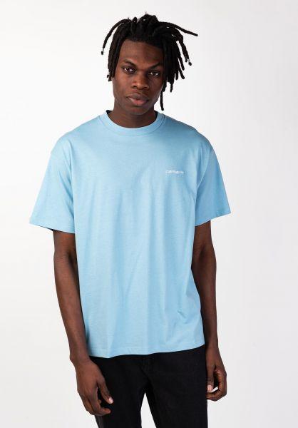 Carhartt WIP T-Shirts Script Embroidery capri-white vorderansicht 0320063